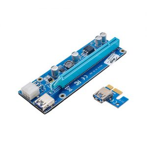 Akyga Riser PCI-E 1x – 16x AK-CA-64 USB 3.0, 6-pin, SATA, 009s
