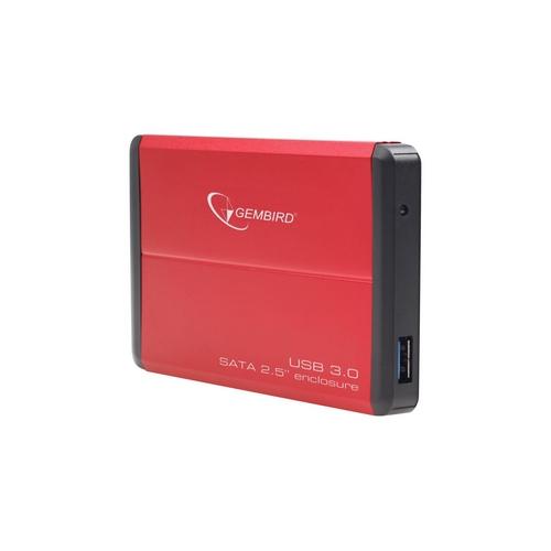 Gembird case pro 2.5 SATA disk – USB 3.0, červený hliník, HDD/SSD