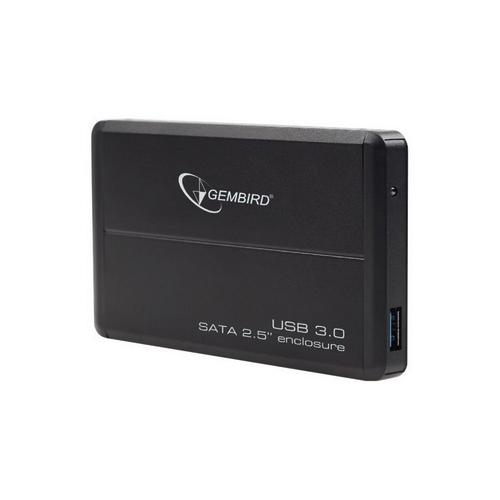 Gembird externí box USB 3.0, pro 2,5 SATA, HDD/SSD  černý, hliník