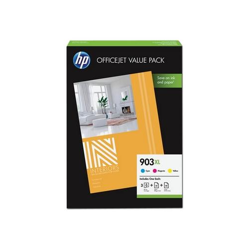 HP 903XL Office Value Pack – 3balení barva (azurová, purpurová, žlutá)